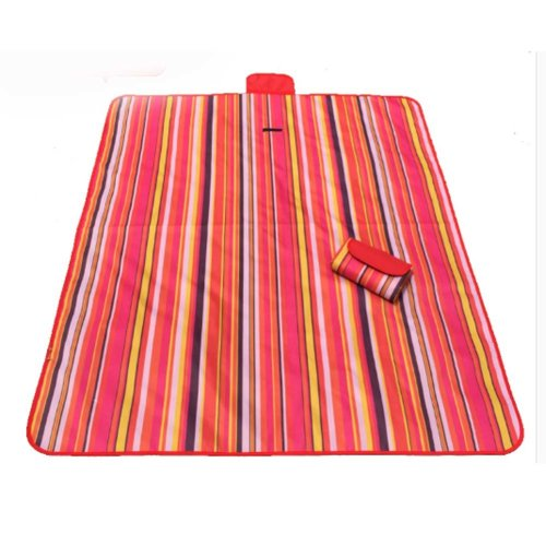 Picnic Blanket with Waterproof Red Stripes Great for the Beach,Camping on Grass