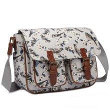 Miss Lulu Cross Body Messenger Bag School Shoulder Satchel Bird Flower Print