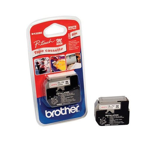 Brother M-K222BZ Red on white label-making tape