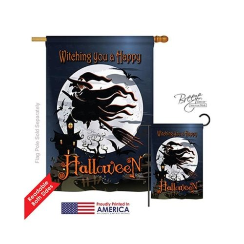 Breeze Decor 12004 Halloween Happy Witching You 2-Sided Vertical Impression House Flag - 28 x 40 in.