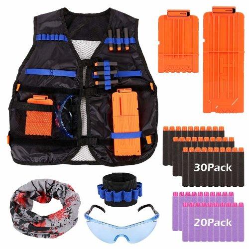 Kids Tactical Vest Kit, Adjustable Tactical Vest Jacket Kit for Nerf Toy Gun N-Strike Elite Series