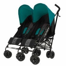 Obaby Twin Stroller Apollo - Black-grey (turquoise Hoods)