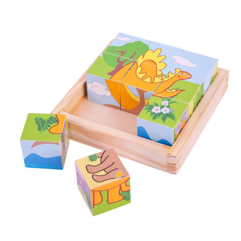 Bigjigs Wooden Dinosaur Cube Puzzle