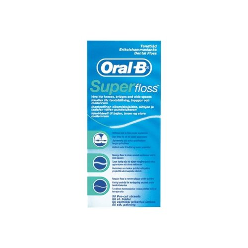 Oral-B SuperFloss Super Dental Floss for Braces Bridges - 50 Metres