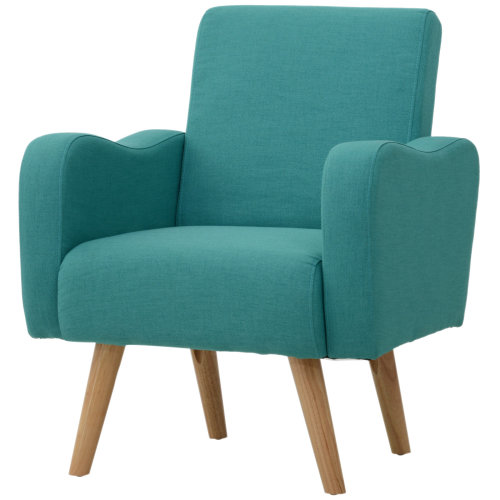 HOMCOM Nordic Armchair Sofa Chair Solid Wood Living Room Linen Teal