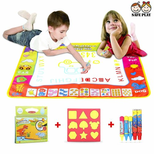 YUNCE Water Drawing Mat, Aqua Magic Mat with 4 Color Blocks for Toddlers, Dinosaur Aqua Drawing Book with 5 Water Magic Drawing Pens, Mess-Free...