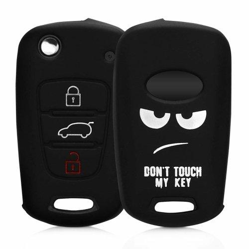 kwmobile Hyundai Car Key Cover - Silicone Protective Key Fob Cover for Hyundai 3 Button Car Flip Key - White/Black