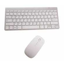 (Silver and White) Wireless UK Layout Keyboard & Mouse | Slimline Quiet Keyboard Set
