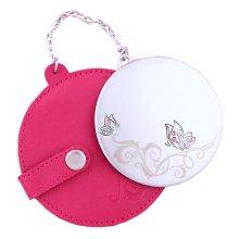 Portable Princess Mirror Vanity Mirror Little Handheld Makeup Mirror Round Diameter 7CM (Red)