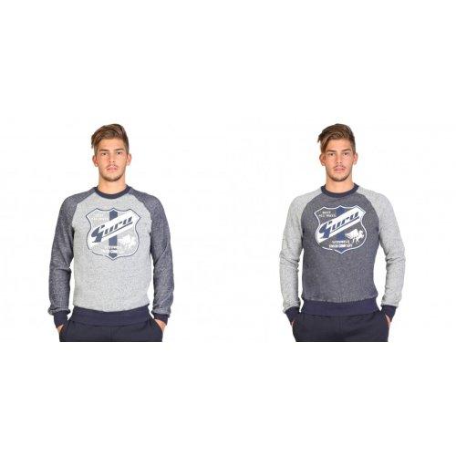 Guru Mens Badge Design Raglan Sleeve Fleece Sweatshirt