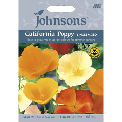 Johnsons Seeds - Pictorial Pack - Flower - California Poppy Single Mixed - 500 Seeds