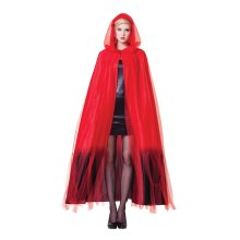 Hooded Cape Red Ladies W/black Ombre Finish -  cape hooded fancy dress halloween ladies red ombre finish cloak black long womens deluxe layered ghost