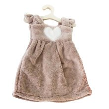 Lovely Soft Thick Hanging Princess Dress Hand Towels Drying Wipe Heart Khaki