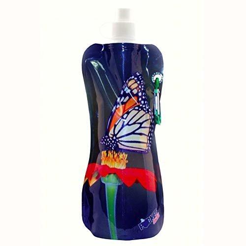 Zees Inc Pocket Bottles Cb1019 Butterfly Foldable Bottle 16 Oz Multicolor