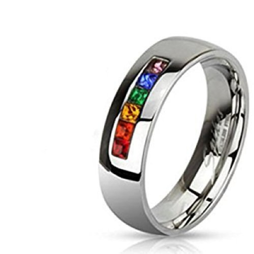 Rainbow Coloured Gay Pride Centered Polished Surgical Steel 6mm Width Band Ring