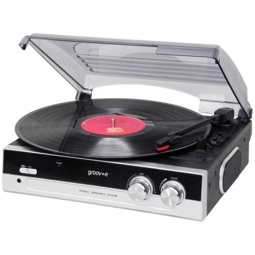 Groov-e GVTT01BK Vintage Vinyl Record Players Turntables with Built-in Speakers