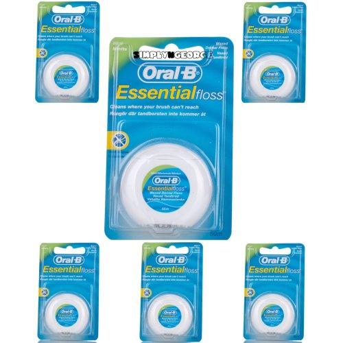 6 X Oral B Floss Essential Mint Waxed MINT DENTAL 50M WAX