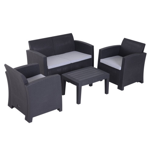 Outsunny 4pc Rattan Effect Sofa Set Garden Furniture Outdoor Wicker Weave Style Includes 2 Armrest Chairs 1 Two Seater On