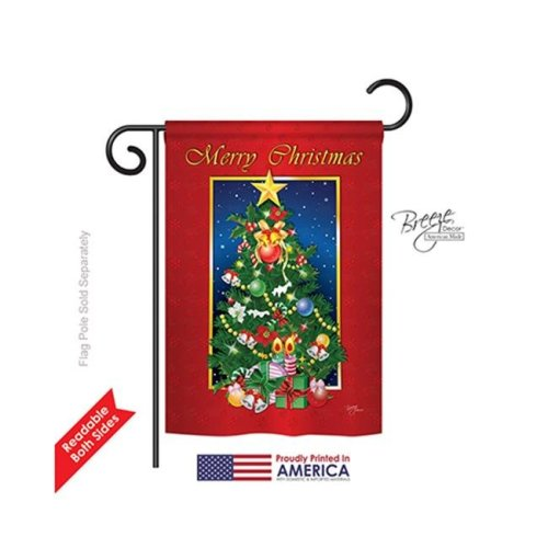 Breeze Decor 64079 Christmas Merry Christmas Tree 2-Sided Impression Garden Flag - 13 x 18.5 in.