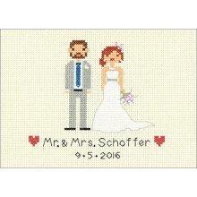 "Bride & Groom Wedding Record Mini Counted Cross Stitch Kit-7""x5"" 14 Count - -  counted cross stitch wedding bride groom mini record design size"