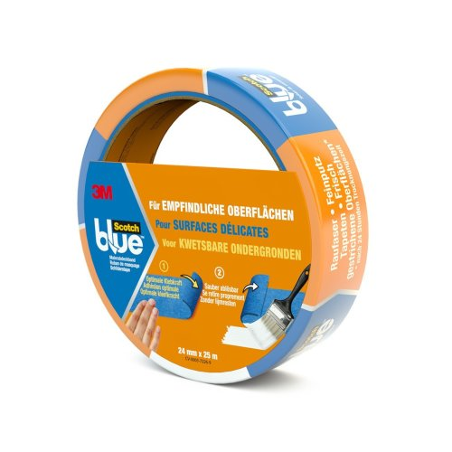 Scotch Blue 80EU2425 Painter's Masking Tape for Sensitive Surfaces 24 mm x 25 m Blue