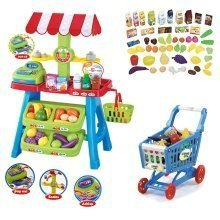 deAO Kids Market Stall Toy Shop & Shopping Trolley & Play Food