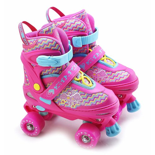 (Pink Medium UK 2-4) The Magic Toy Shop Adjustable Kids' Roller Skates