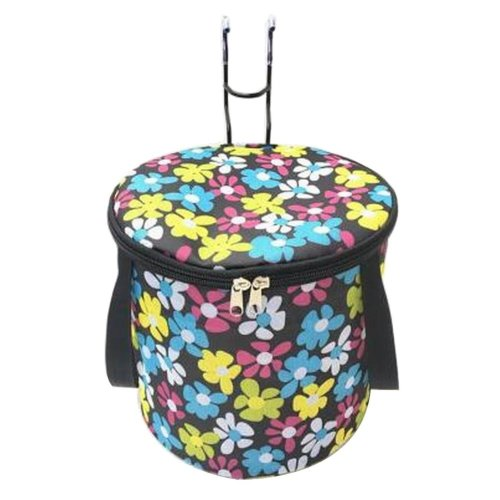 [Flower-3] Waterproof Canvas Bicycle Basket Foldable Lidded Basket for Bike