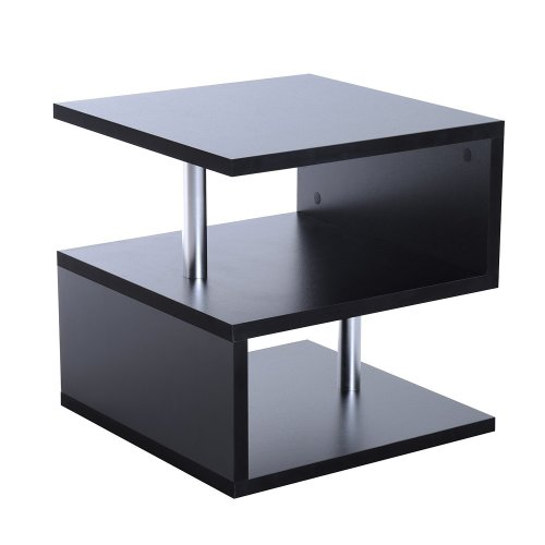 Homcom Wooden 2-Tier Coffee Table   'S' Shape Side Table