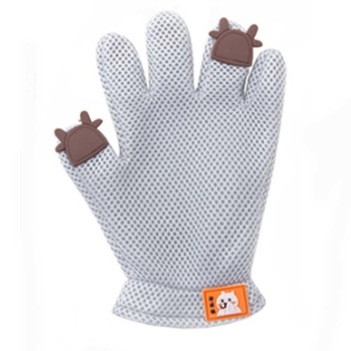 Pet Grooming Glove Gentle Deshedding Brush Glove Five Finger Design Grey