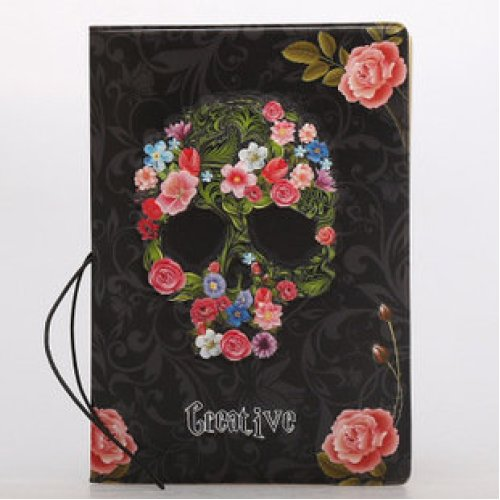 Cool Skeleton Skull With Flowers PU Leather Passport Cover (1 passport cover)