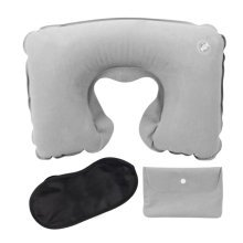 Gray Office/Travel Pillow Suit Flocking Inflatable Neck Pillow