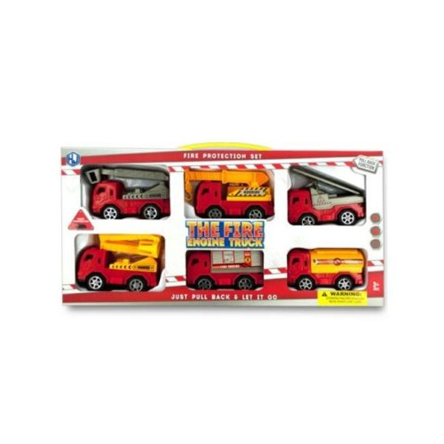 Kole Imports KL251-8 4 x 2 in. Fire Engine Truck Set, 6 Piece - Pack of 8