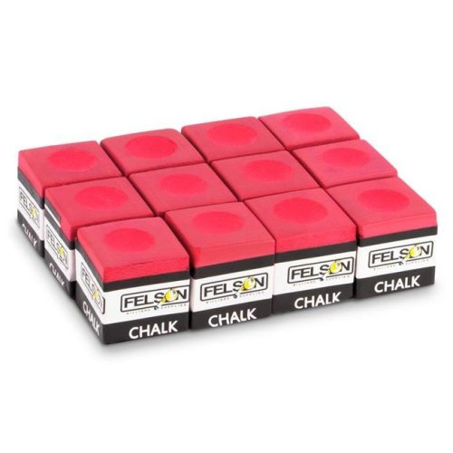 Brybelly SFELS-012 Pool Cue Chalk, Red - Pack of 12