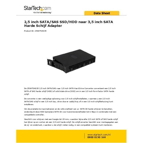 Startech.com 2.5in Sata/sas Ssd/hdd to 3.5in Sata Hard Drive Converter