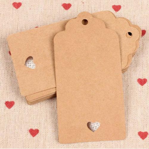 100PCS Kraft Paper Gift Tags Wedding Scallop Label Blank Luggage Heart Tree Hang