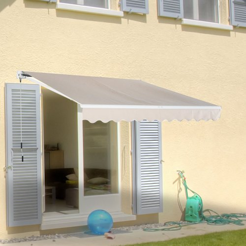 Outsunny Window Awning Canopy Sun Shade UV Blocker w/ Hand Crank (3 x 2m, Creamy White)