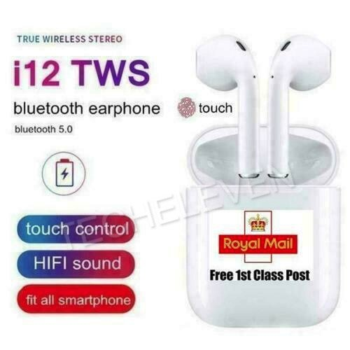 NEW i12 TWS WIRELESS AIRPODS BLUETOOTH 5.0 EARPHONES TOUCH CONTROL