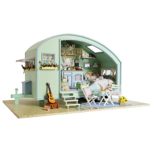 DIY Wooden Dolls House Handcraft Miniature Kit-Caravan Model & Furniture