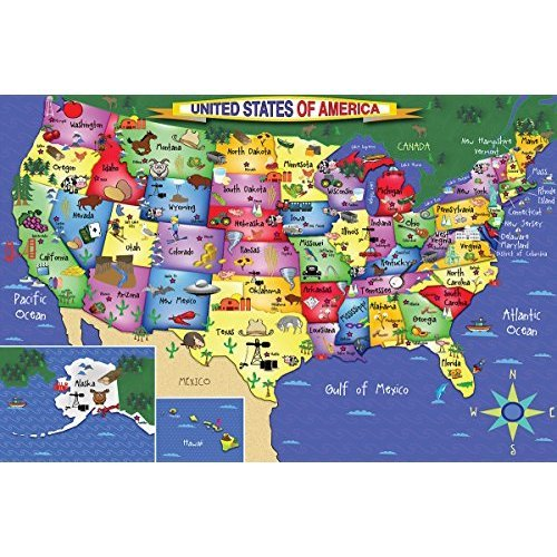 White Mountain Puzzles Us Map 48 Piece Jigsaw Puzzle On Onbuy - Us-map-jigsaw-puzzle