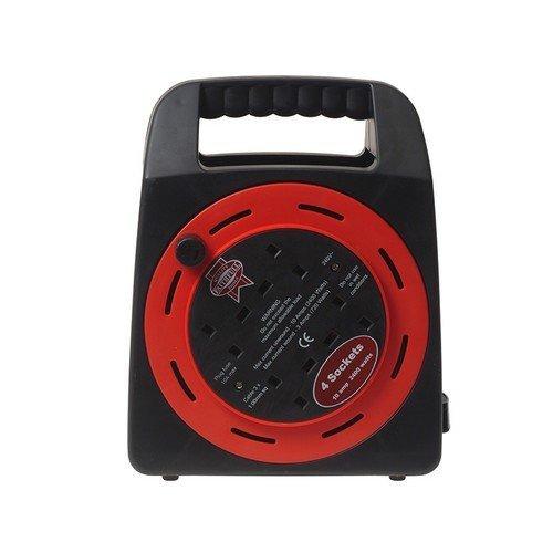 Faithfull FPPCR50MER Easy Reel Cable Reel 50 Metre 13 Amp With 2 Socket 240 Volt