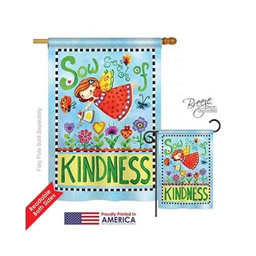 Breeze Decor 04088 Floral Sow Seeds of Kindness 2-Sided Vertical Impression House Flag - 28 x 40 in.