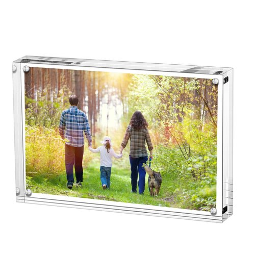 Acrylic Photo Frame, Stand with Magnets, Holds 5 X 7 Inches Pictures,10mm+10mm Thickness Transparent by Boxalls