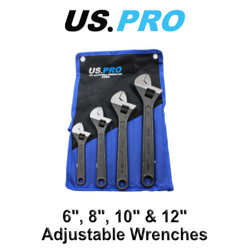 """US PRO 4pc Adjustable Wrench / Shifting Spanner Set 6"""" 8"""" 10"""" 12"""""""