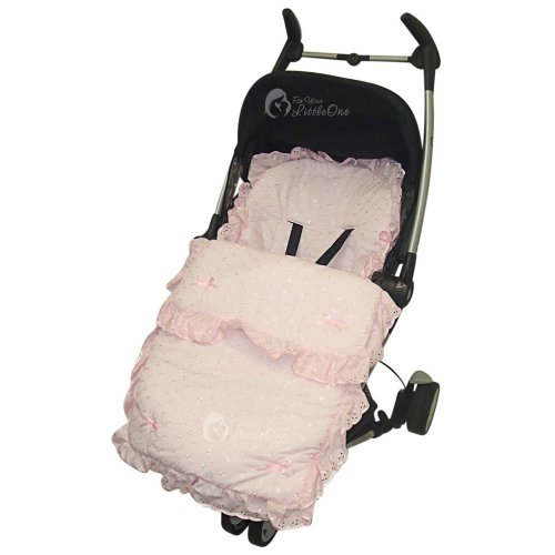 Broderie Anglaise Frilly  Footmuff / Cosy Toes Compatible with Quinny Zapp Pink
