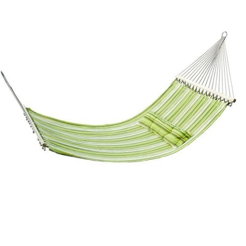 Outsunny 2 Person Hammock With Pillow - Green Stripe | Double Hammock