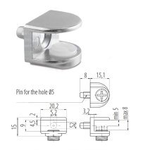 Small Shelf Bracket Glass Shelf Support with Pin 5 - 8mm thickness Shelves Pack of 4