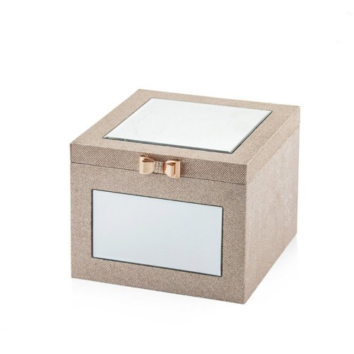 Faux Leather Jewellery Box 25 x 25 cm Beige BROU