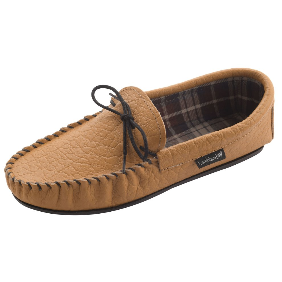 50b825dfd80 ... Lambland Mens Fabric Lined Genuine Leather Moccasin Slippers - 2 ...
