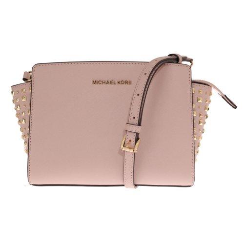 4d41fa74349a Michael Kors Handbags Pale Pink SELMA STUD Leather Messenger Bag on OnBuy